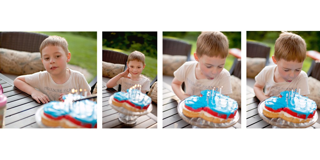 Blowing out six candles and making a wish...