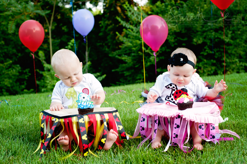 Twin 1st Birthday Cake Smash - 07