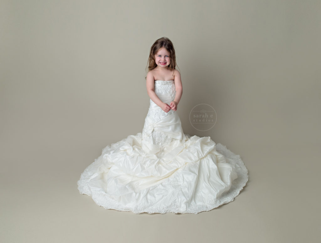 Four Year Quinn in Her Mom's Wedding Gown